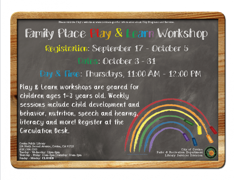 Family Place: Play & Learn Workshops! | City of Covina